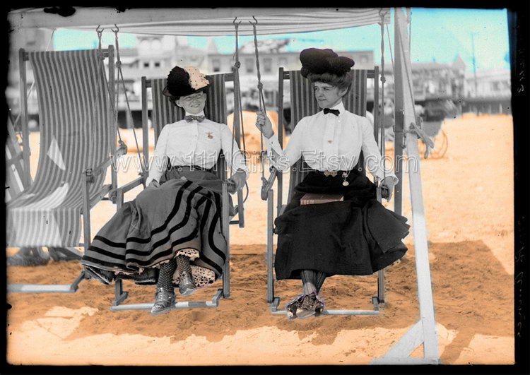 Atlantic City Beach 1905 - Colorized Vintage Photo