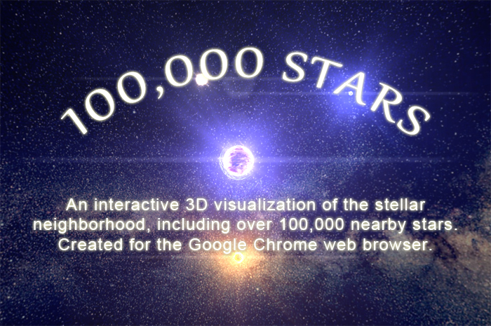 An interactive 3D visualization of the stellar neighborhood, including over 100,000 nearby stars. Created for the Google Chrome web browser.
