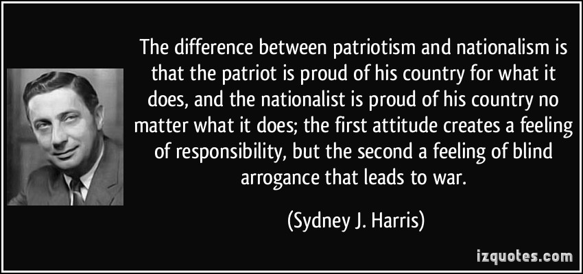 The difference between patriotism and nationalsim