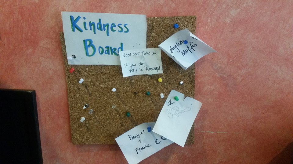 Kindness Board, seen at Maine Coast Book Shop & Cafe